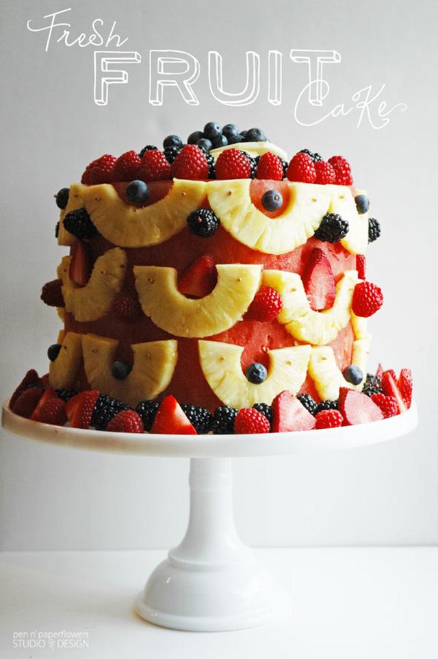 bolo para bodas de frutas