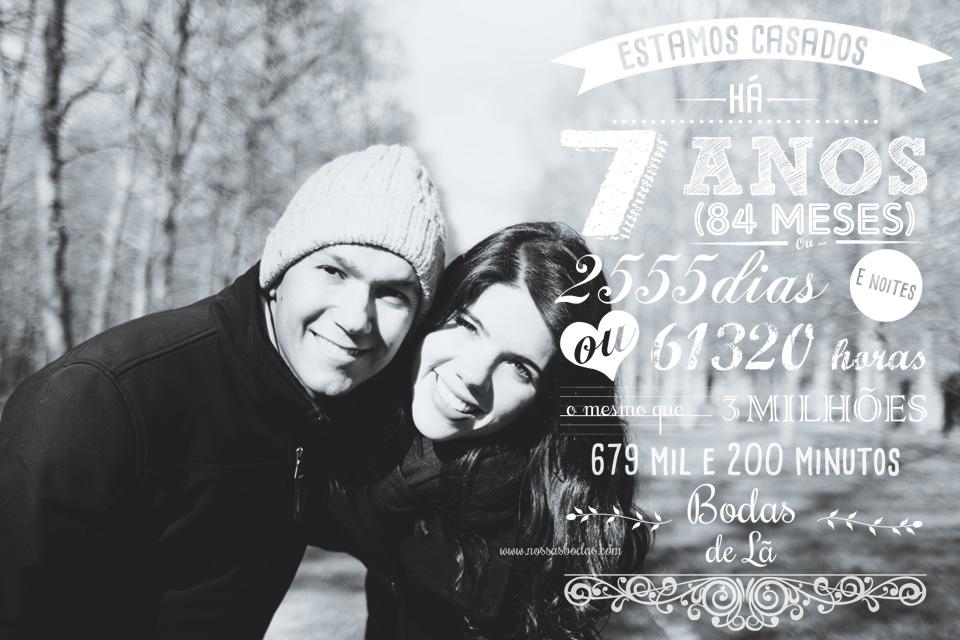 Foto personalizada Estamos casados há | Nossas Bodas | Aniversários de casamento