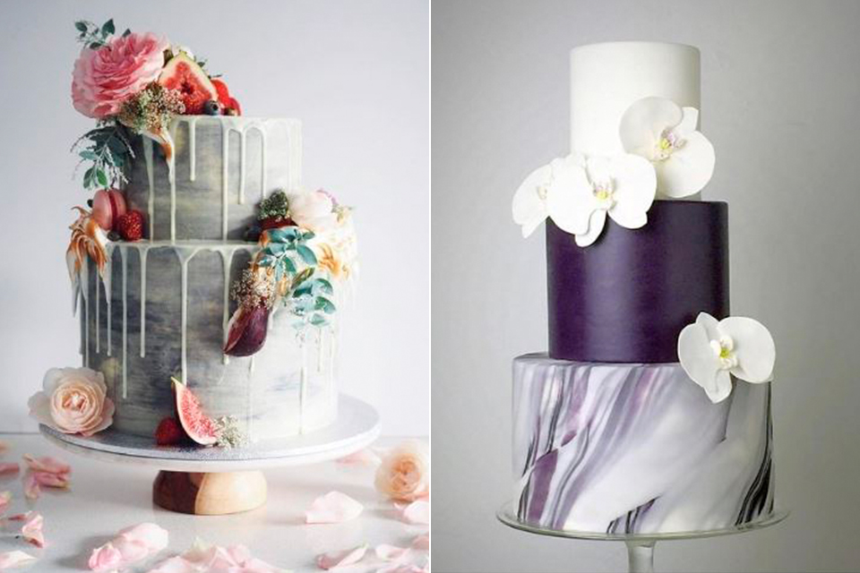 bolos para bodas de mármore