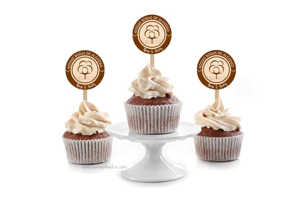 topper para cupcake boda de algodão