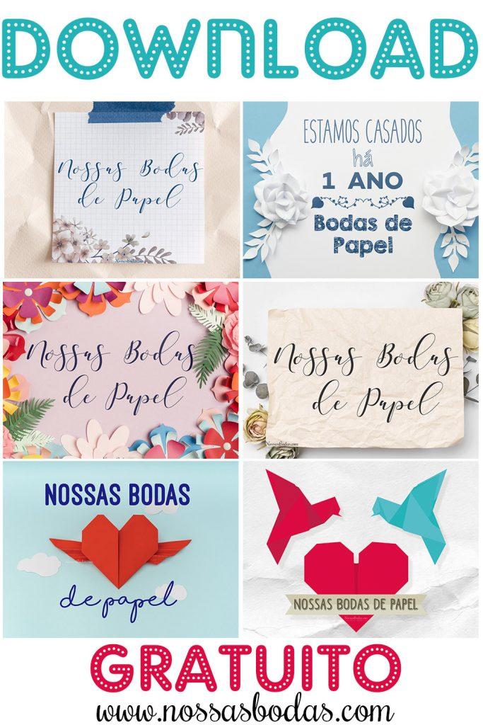 download gratuito 1 ano de casamento bodas de papel